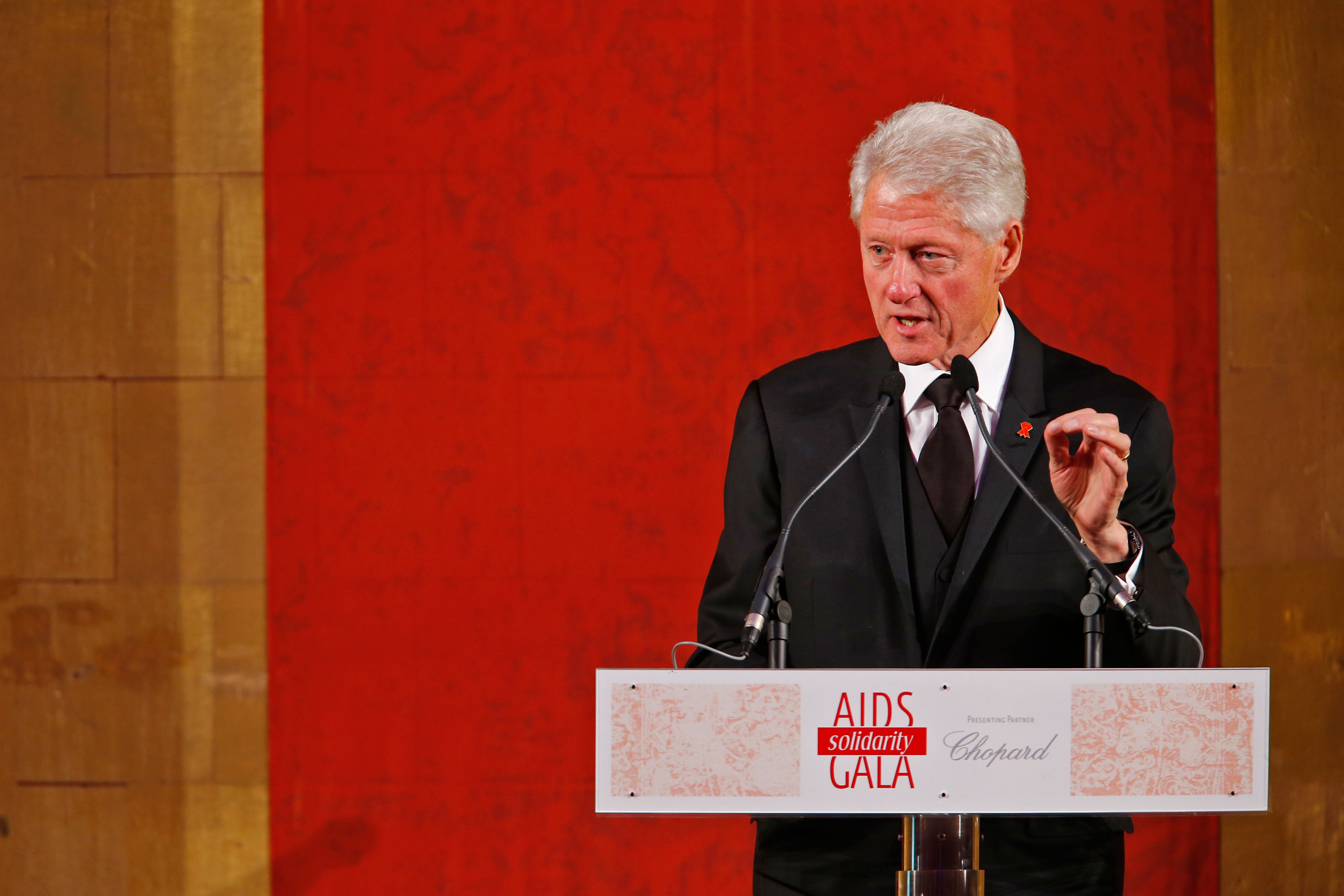 Bill Clinton speaks at the AIDS Solidarity Gala at Vienna's Hofburg Palace on May 16, 2015. (Photo by Getty Images)