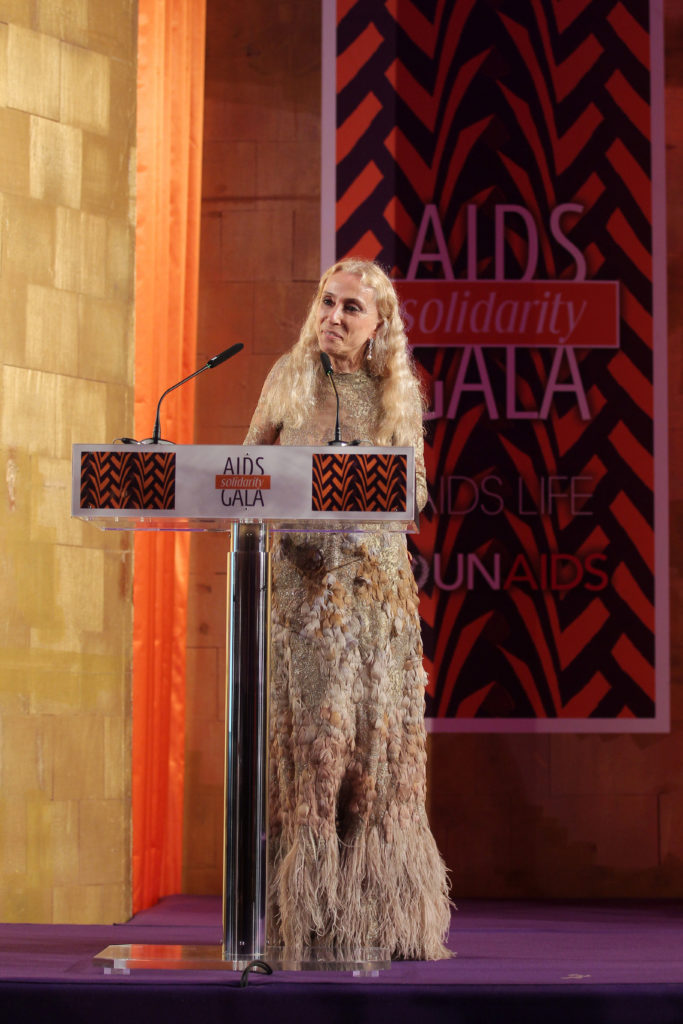 Franca Sozzani speaks at the AIDS Solidarity Gala at Vienna's Hofburg Palace on May 16, 2015. (Photo by Getty Images)